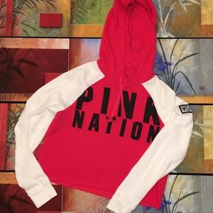 PINK Nation Cropped fleece hoodie